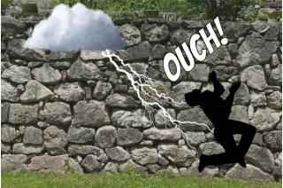 Harry was struck by lightning! passive voice